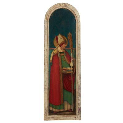 Grande Peinture Du XVIème. Saint Evêque. 126 Cm