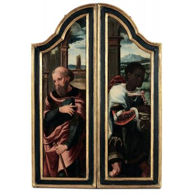 Two Flemish Renaissance Paintings Retable Elements From The Beginning Of The XVIth Century.