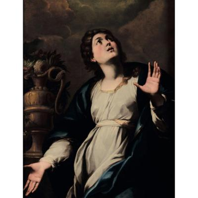 Important Italian School 17th Century. Holy Virgin Of The Annunciation. Caravagesque School