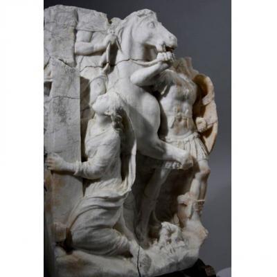 Grand Bas-relief En Marbre. École Francaise Néo-classique Du XVIIIème Siècle. 49 cm.