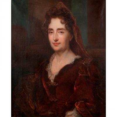 Portrait De Jeune Femme à La Robe Rouge. Huile Sur Toile. XVIII./XIXe Siècle