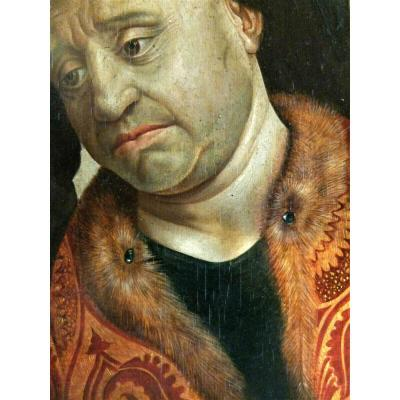 Peinture Du XIXème Dans Le Goût De Rogier Van Der Weyden. Huile Sur Panneau.
