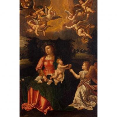 Peinture Renaissance. École Flamande Du XVIème Siècle.  La Vierge à L'enfant et anges.
