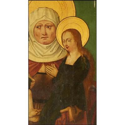 Grand Panneau Haute Epoque. La Sainte Anne Trinitaire. XVIème siècle