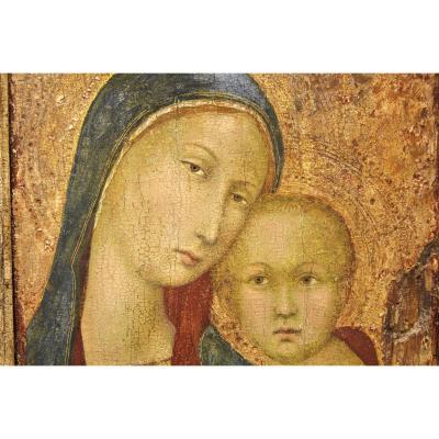 École Siennoise. Vierge à l'Enfant. Fond Or.  Tempera. XV-XVIème Siècle
