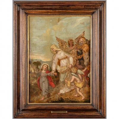Gaspar de Crayer (1585-1669) Attr.  Le Retour De La Sainte Famille d'Egypte. Huile Sur Panneau