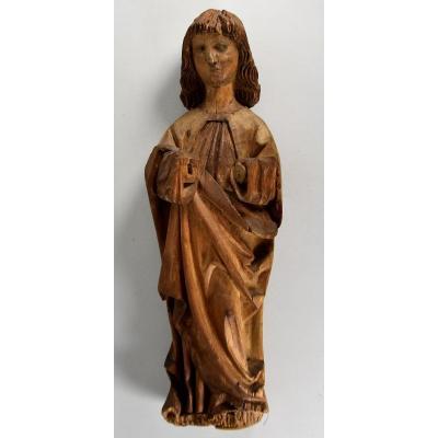 Sculpture Haute Epoque De la fin du XVème siècle. L'Apôtre Saint Jean.