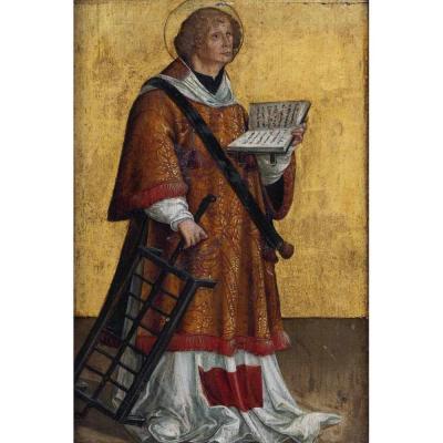 Maitre de Messkirch (attr.). Peinture Haute Epoque. Saint Laurent. Panneau XV-XVIème Siècle