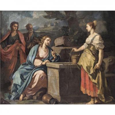 Le Christ Et La Samaritaine. École Italienne Du XVIIème Siècle