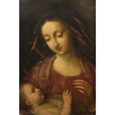 École Italienne Du XVIIème Siècle. La Vierge à l'Enfant.