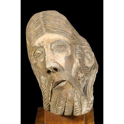 Ancient Sculpture Stone Calcalire. Head Of Prophet. Taste Of The Spanish Novel.