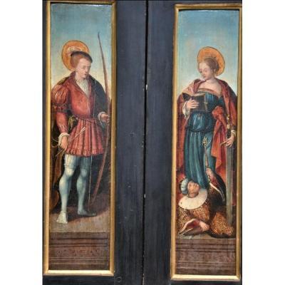 Cercle De Bernard Von Orney (1492-1542). Deux Panneaux. St Sebastien Et Ste Catherine. XVIe