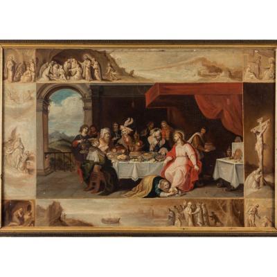 Le Repas Chez Simon Le Pharisien. École Flamande Du XVIIème Siècle