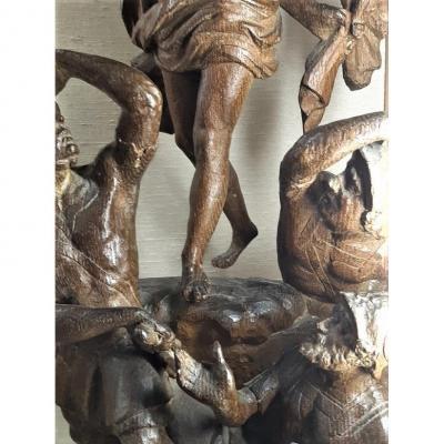 Élément De Retable. La Réurrection Du Christ. Sculpture Haute Époque. XVIème Siècle.