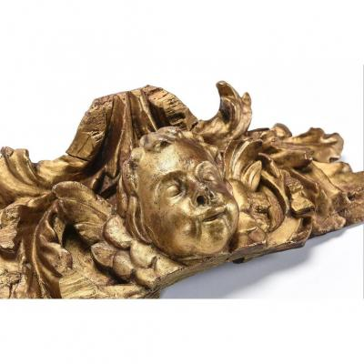 High Relief In Golden Wood. Cherubs. 18th Century