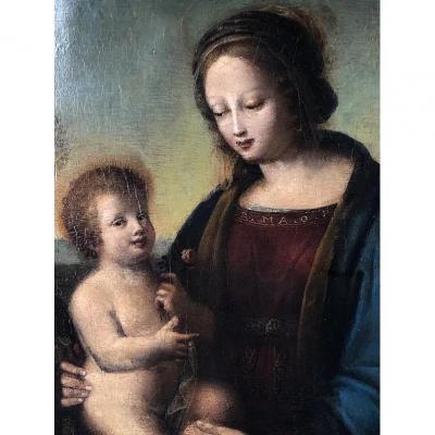 École Italienne De La Fin Du XVIème Siècle. La Vierge à l'Enfant. Panneau