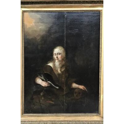 School Northern Europe 17th Century. Mary Magdalene. Oil On Panel. Signature