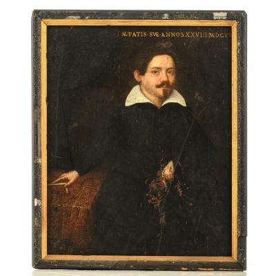 Portrait Of A Mathematician. Flemish School 17th Century.