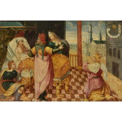 """Deux Petites Peintures Pendants Du XVIème Siècle. """"Allégorie du Temps qui passe"""" et """"Mort du Patriarche"""""""