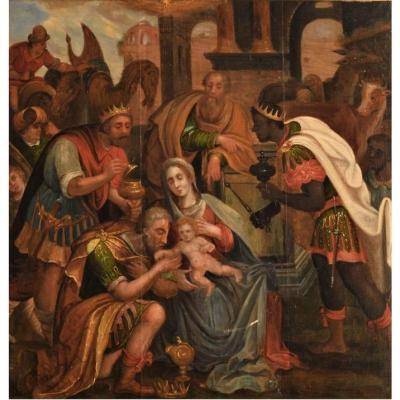 l'Adoration Des Mages. Peinture Flamande Du XVIème Siècle. Panneau