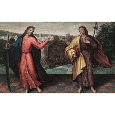 Renaissance. Ecole Flamande Du XVIe Siècle. Huile Sur Panneau. Deux Saints
