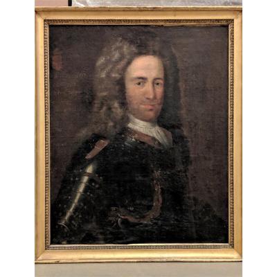 École Allemande Du XVIIIème Siècle. Portrait d'Homme En Armure. Hst Datée 1711