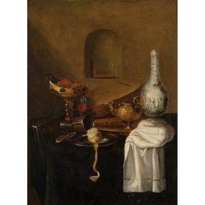 Ecole Hollandaise (XVIIe Siècle). Nature Morte Au Citron. Hst