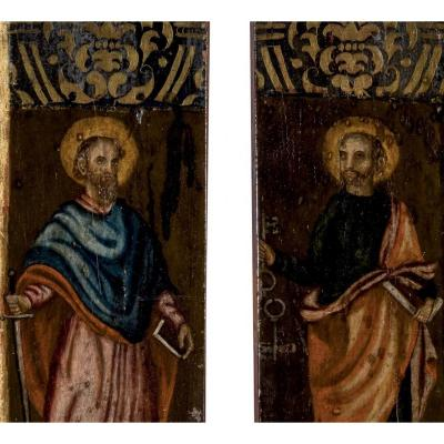 Deux Panneaux Haute Epoque. Saint Paul Et Saint Pierre. Tempera/ Bois