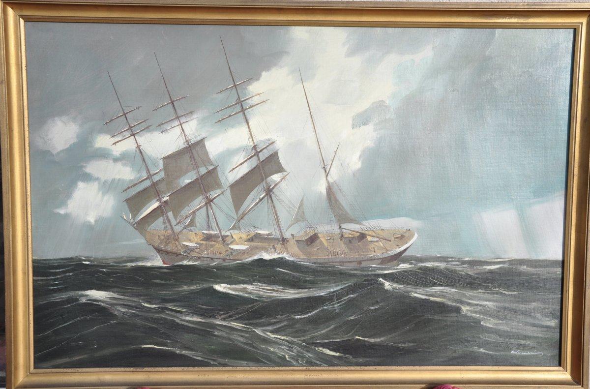 Georges Fouillé (1909-1994) Quatre Mâts Par Mer Formée