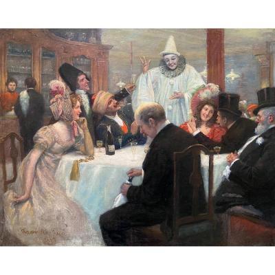 Le bal masqué, signé Bachrach Emmanuel, daté 1899