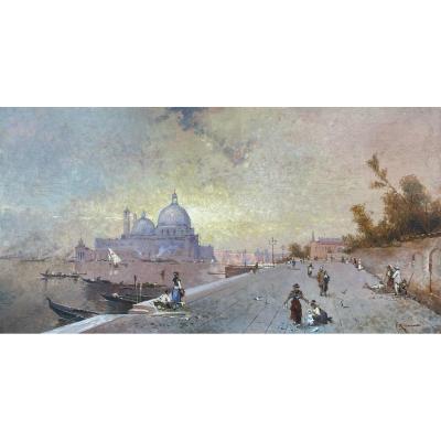Vue De Venise Au Clair De Lune, École Européenne, Signature Illisible