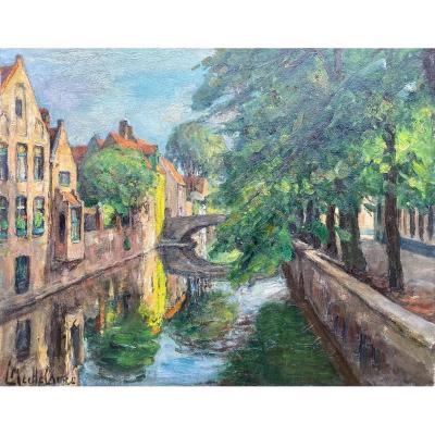 Vue De Bruges, Mechelaere Leo, Bruges 1880 - Erlangen, Allemagne 1964
