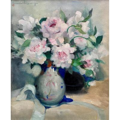 White And Pink Peonies In A Vase, Swyncop Charles, Brussels 1895 - 1970