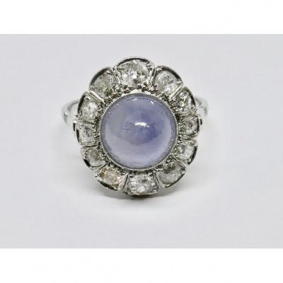 Starry Cabochon Art Deco Sapphire Ring