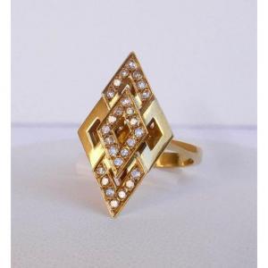 Bague Moderniste En Forme De Losange Or Et Diamants