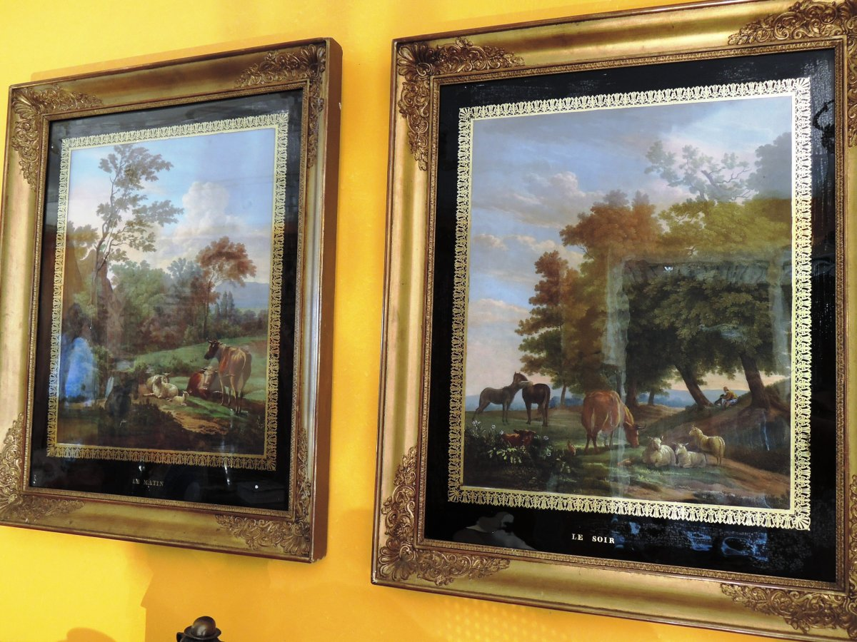 Pair Of Paintings, Said Eglomized,. Restauration Period