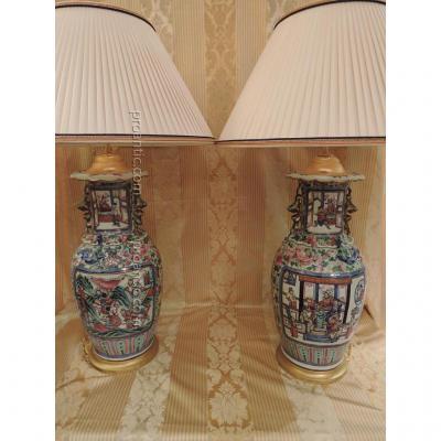 Paires De Lampes En Porcelaine De Canton. Epoque XIXè Siècle