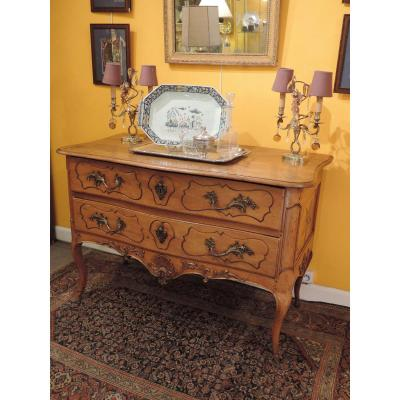 Curved Walnut Commode, Regence Period.