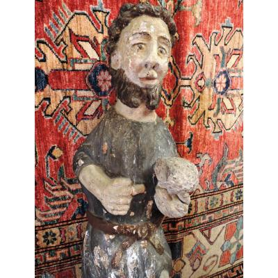 Important Polychrome Statue, Late Seventeenth Period, Early XVIIIth. Saint Jean Baptist ?