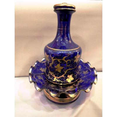 Carafe And Its Support In Blue Crystal. Louis Philippe Period