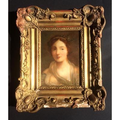 Portrait. Huile Sur Bois.attribution ancienne sur le dos jean-baptiste greuze