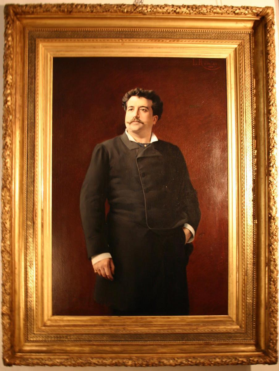 Léon-edouard Romieu (xix) Huile Sur Toile,portrait d'Homme En Pied Dans Un Monumental Cadre En