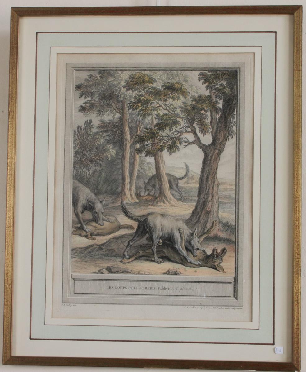 Oudry,estampe XVIII eme couleur encadrée,fables de La Fontaine