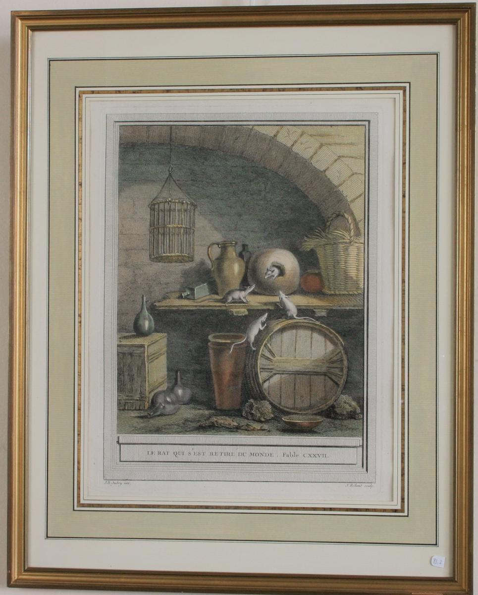 Oudry, estampe XVIII eme couleur encadrée,fables de La Fontaine