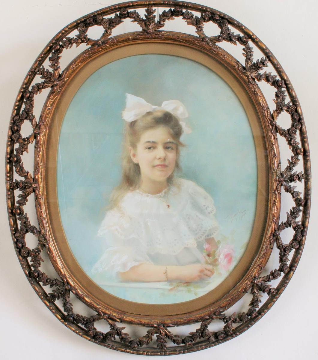 """Buyle F,pastel,""""jeune Fille Au Bouquet De Roses"""" 1910"""