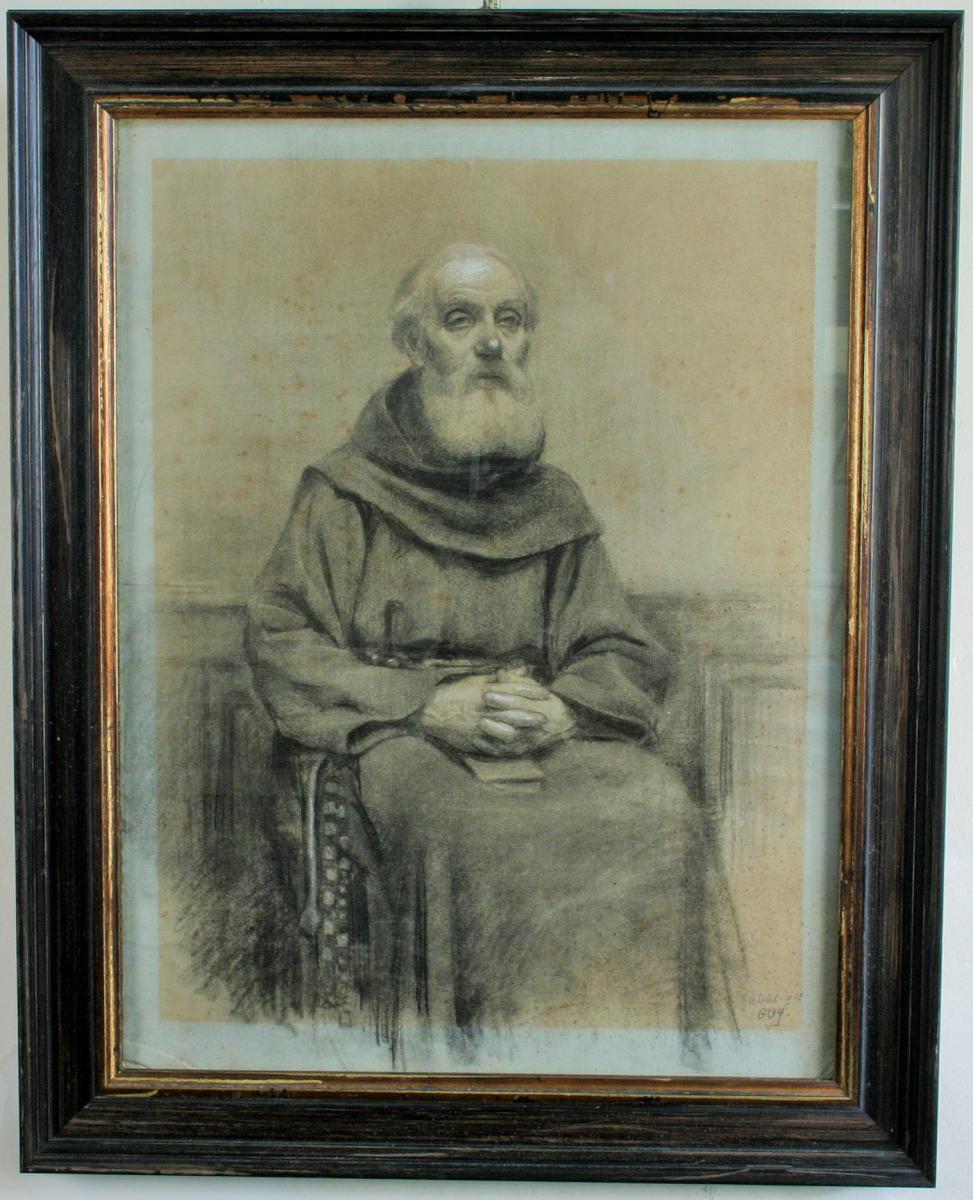 Moine Assis, Fusain à Rehauts De Craie Blanche, Signé Guy, Avril 1912