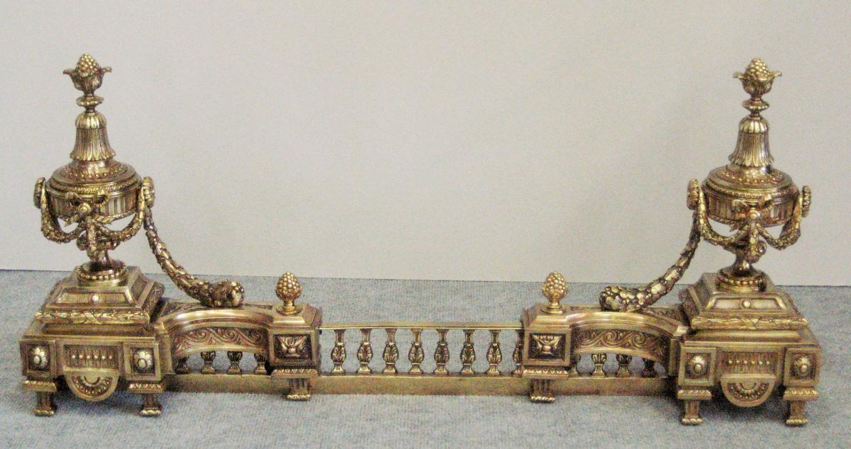 Chenêts En Bronze Patiné, Style Louis XVI, époque 19eme