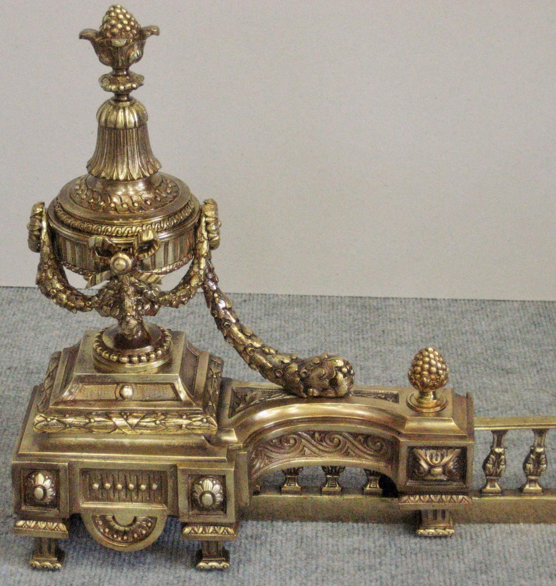 Chen ts en bronze patin style louis xvi poque 19eme chenets accessoires de chemin e - Chenets de cheminee ...