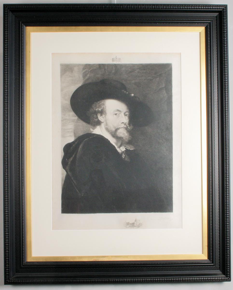 Gravure Sur Velin, Auto Portrait , d'Aprés Rubens, Hathez, 1890, Encadrée