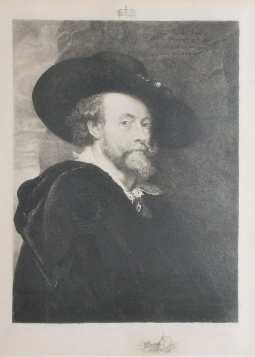 Gravure Sur Velin, Auto Portrait , d'Aprés Rubens, Hathez, 1890, Encadrée-photo-2